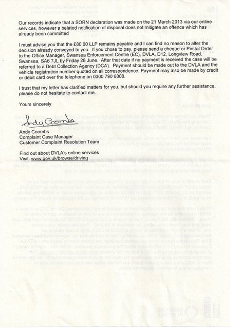 received letter from dvla today as suspected they are advising me to pay up